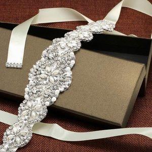 Crystal Rhinestone Bridal Sash Belt Ivory Cream